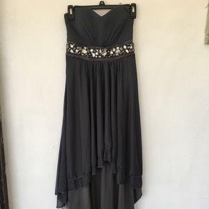Grey jeweled chiffon high low prom dress
